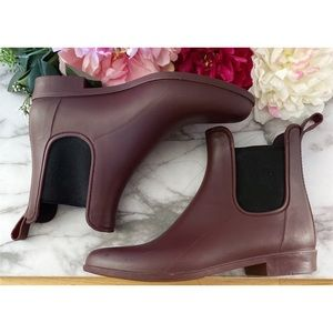 J. Crew Matted Burgundy Chelsea Ankle Rain Booties